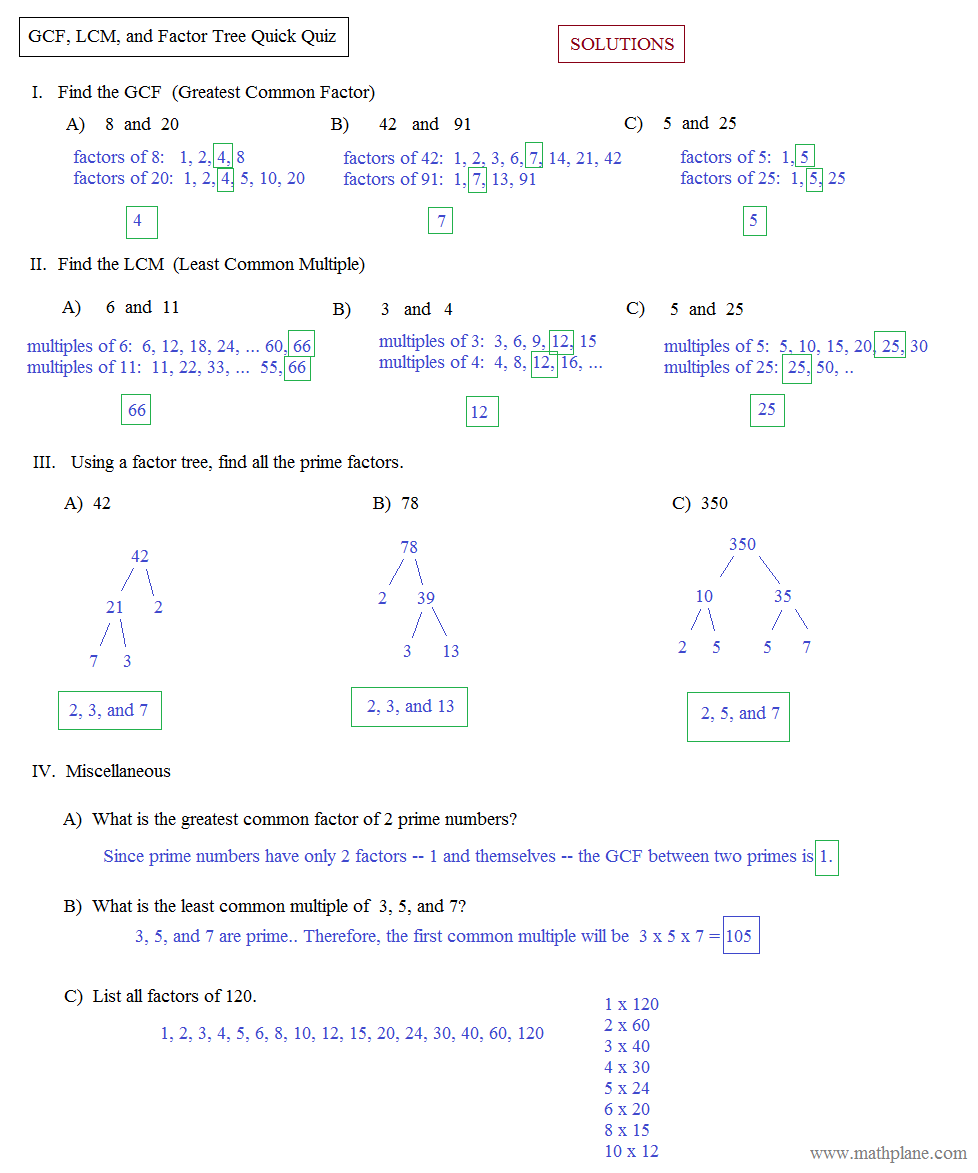 worksheet Math Factor Worksheets math plane greatest common factor gcf least multiple lcm tree quick quiz solutions