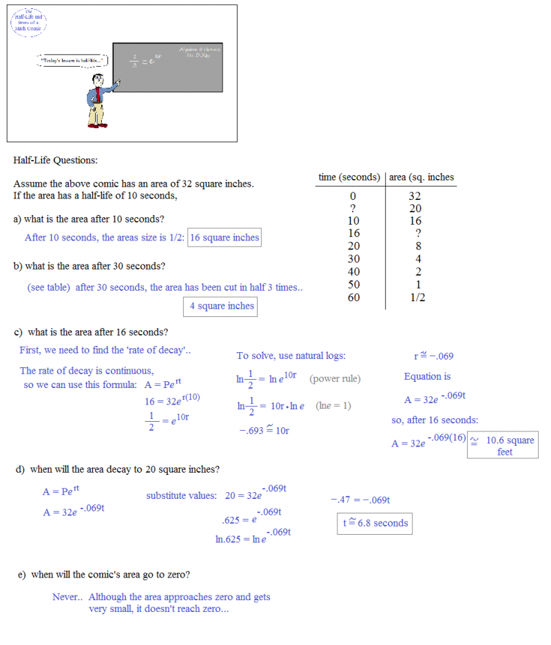 Math Plane spare parts 11 – Half Life Worksheet