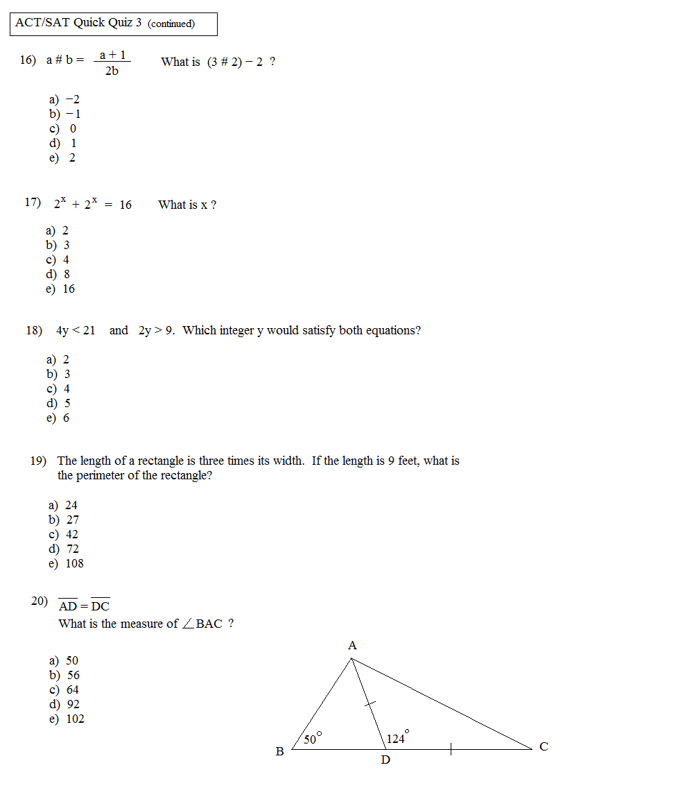 Act Math Worksheets – Sat Math Worksheets