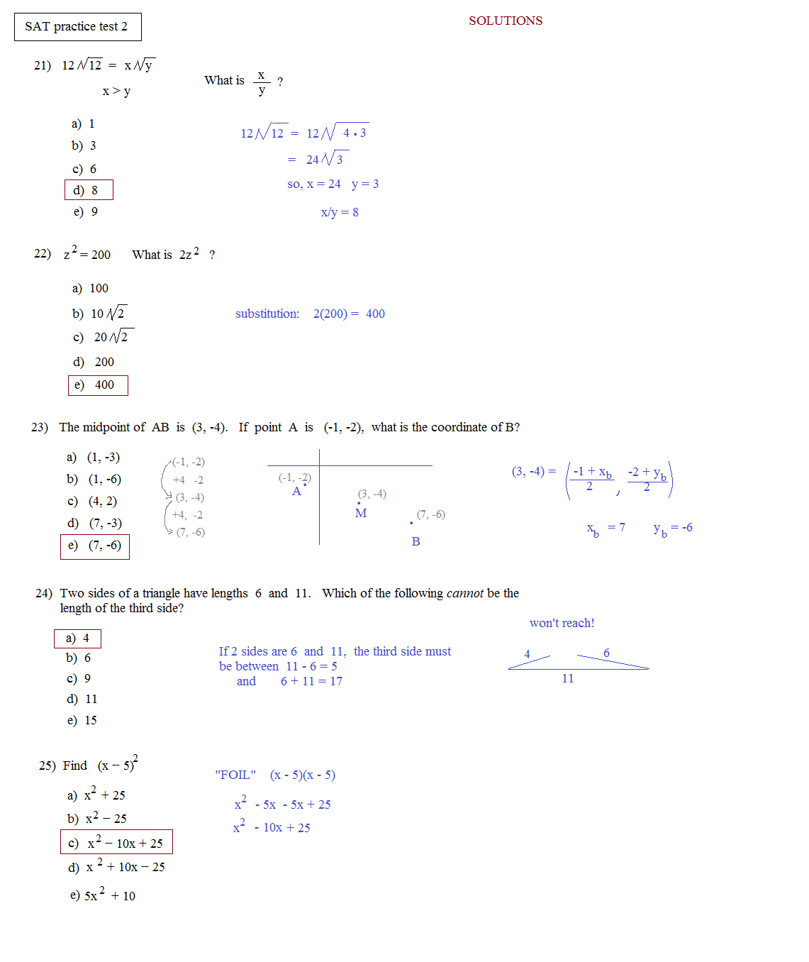 Printables Sat Math Prep Worksheets math plane sat practice test 2 2e solutions