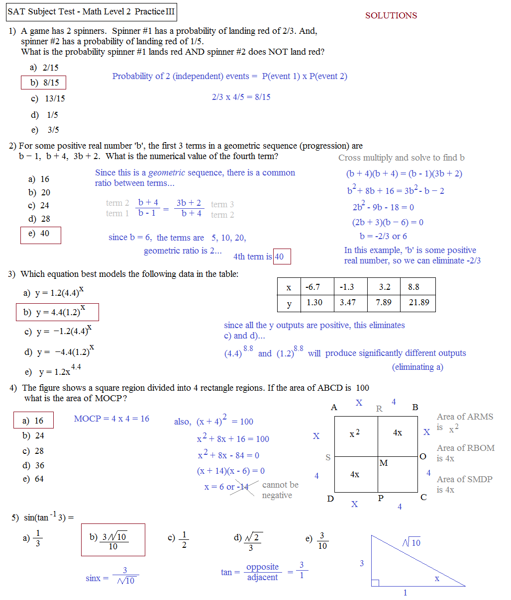 Math Plane SAT Math Subject Test Level 2Practice Test C – Sat Math Prep Worksheets