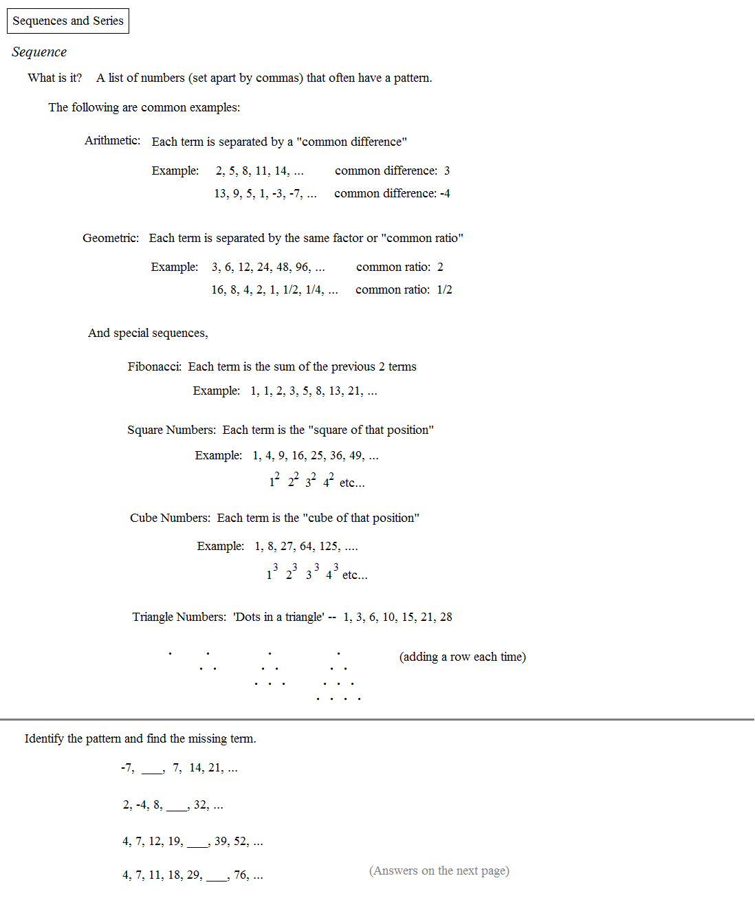 Worksheets Sequences And Series Worksheets math plane sequences and series i notes