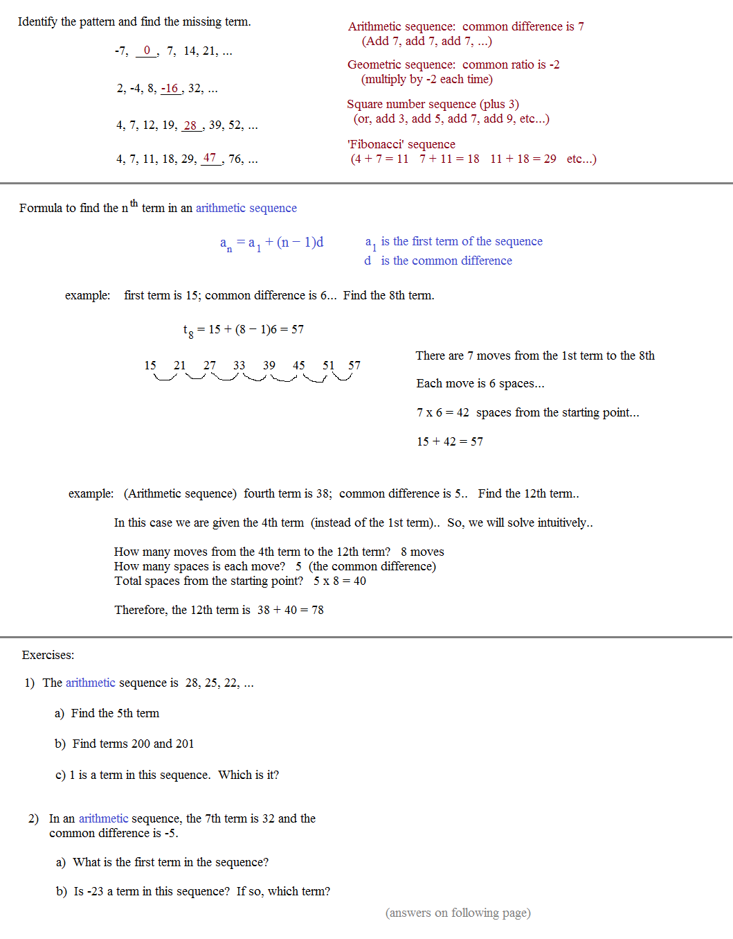 Worksheets Sequences And Series Worksheets math plane sequences and series i notes 2