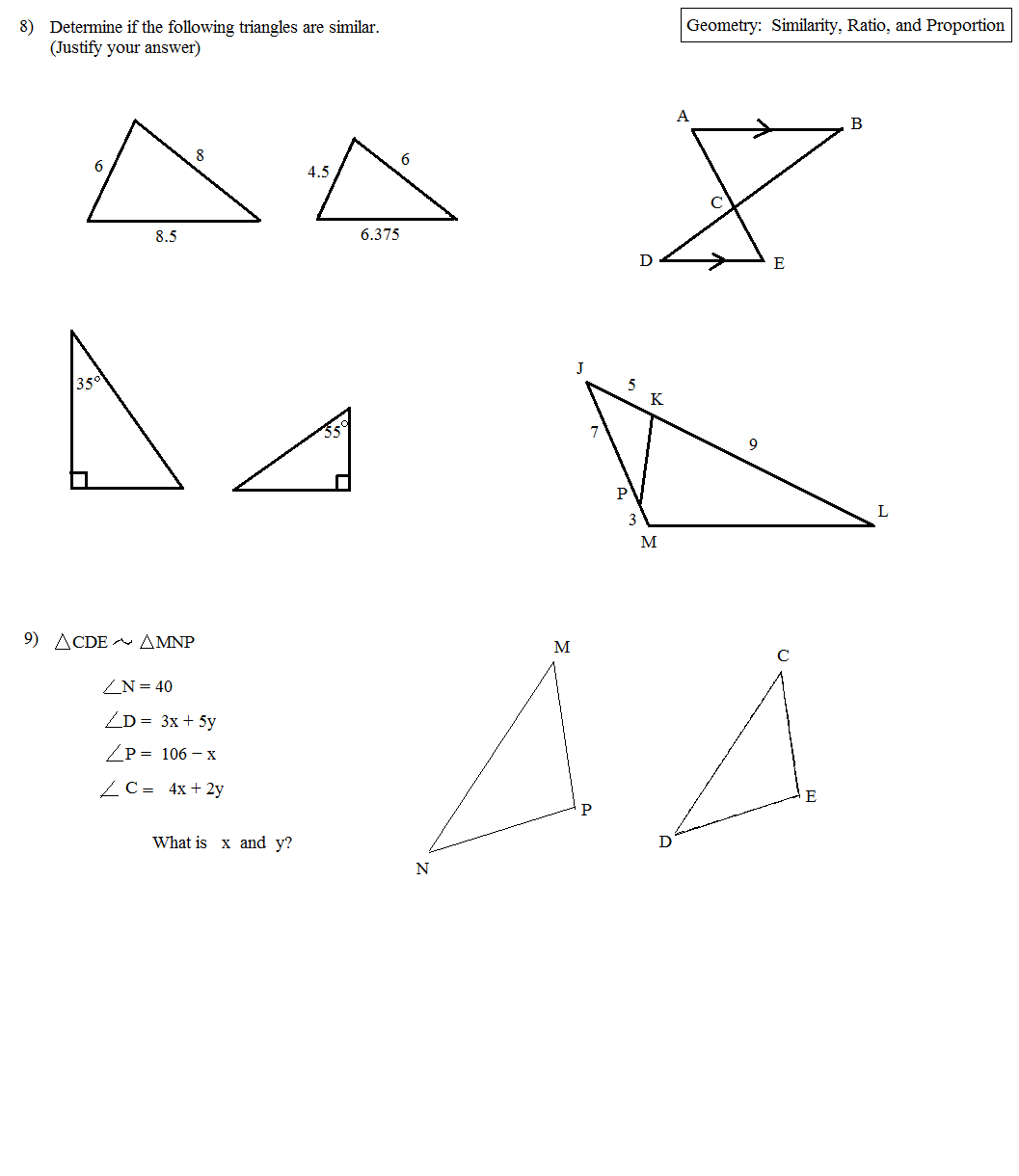 worksheet Geometry Similarity Worksheet math plane similarity ratio and proportion questions proportions 0c