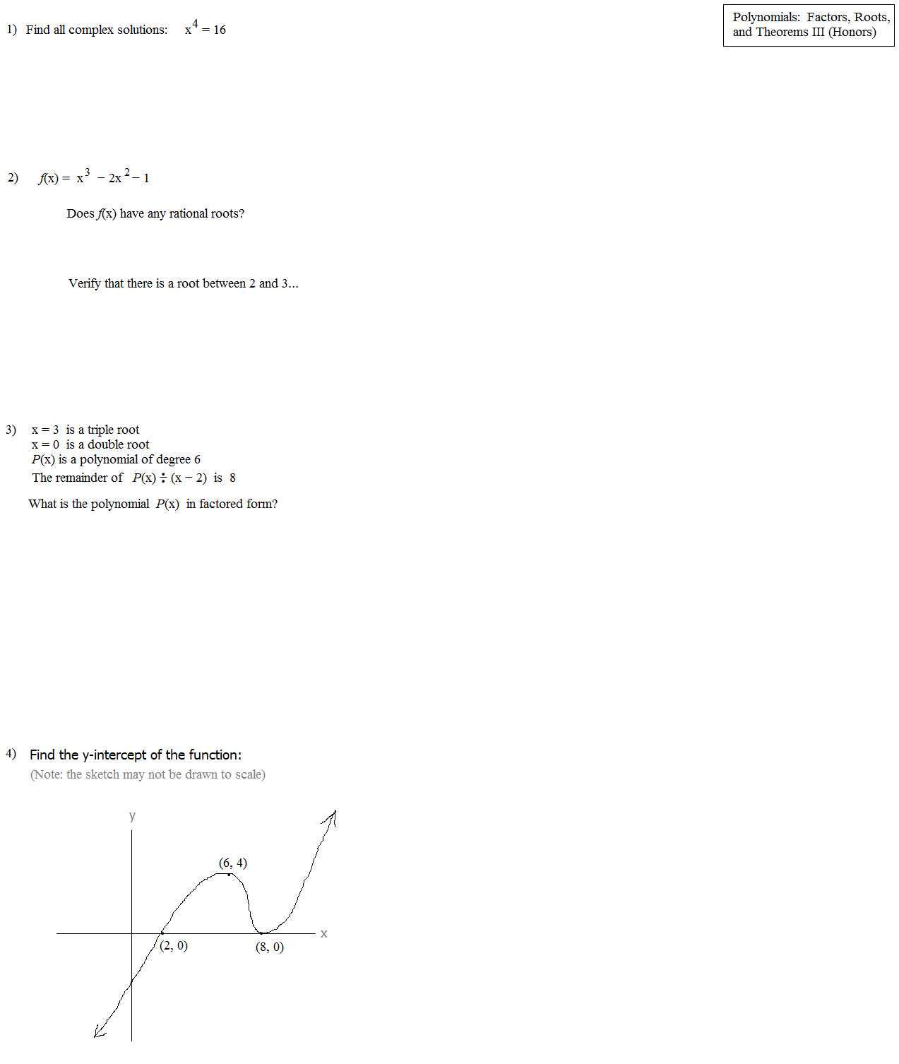 Math plane polynomials iii factors roots theorems honors polynomials test page 1 ccuart Image collections