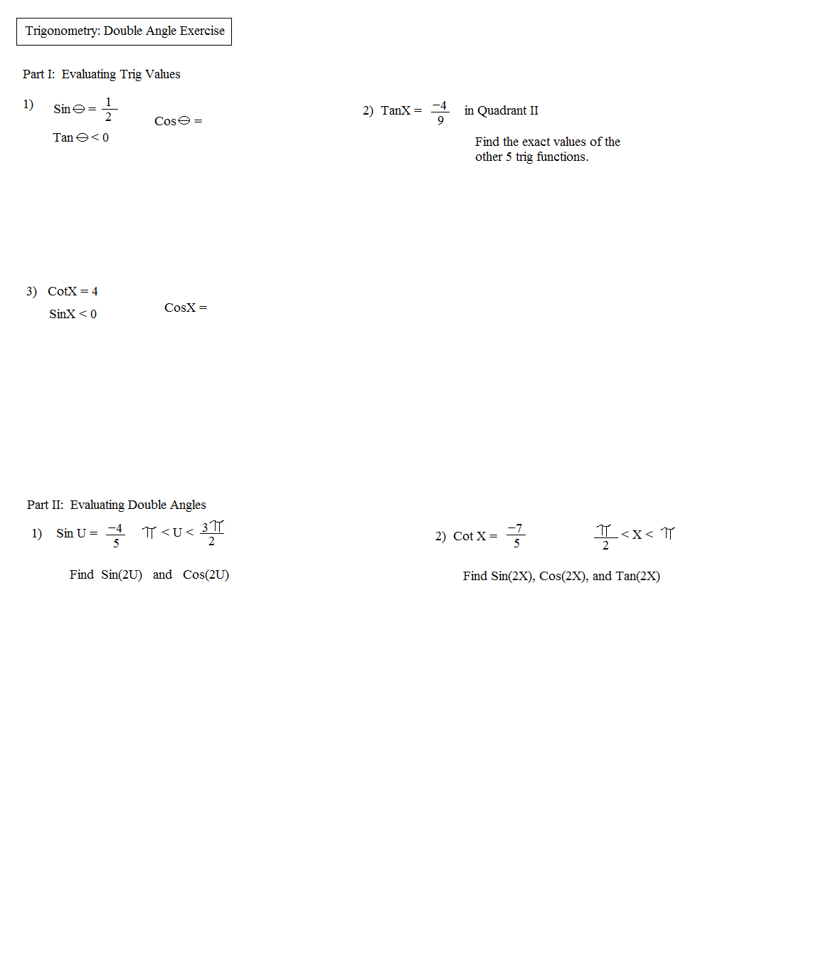 Worksheets Free Trigonometry Worksheets math plane trig identities ii double angles angle exercise 1