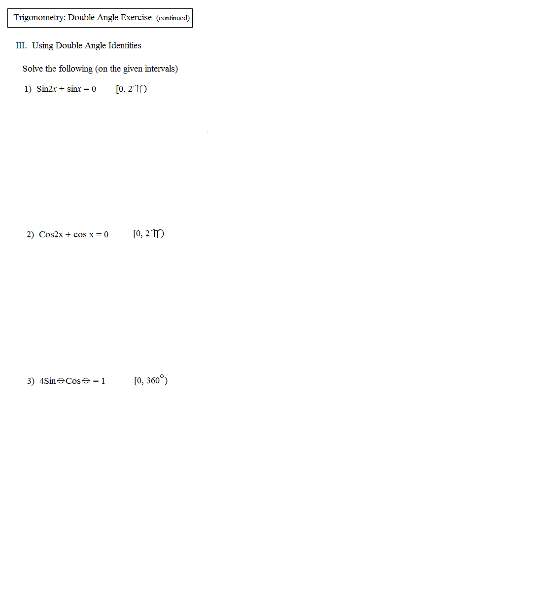 Math Plane Trig Identities II Double Angles – Trig Identities Worksheet