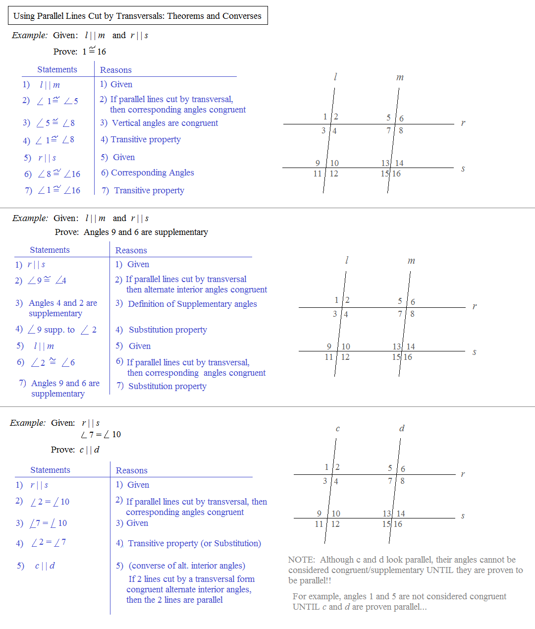 Math Plane Parallel Lines Cut By Transversals