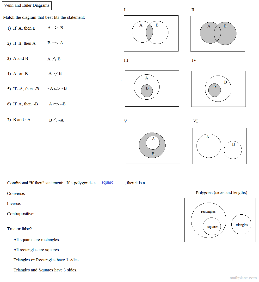 Math plane logic and reasoning venn diagram truth tables exercise pooptronica Gallery