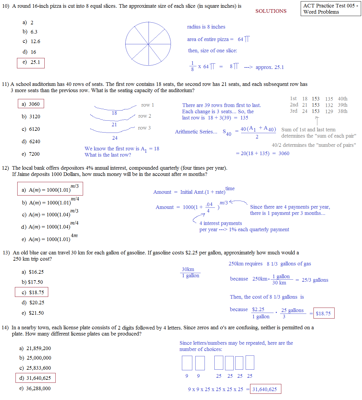 Math Plane - ACT Practice Test 5 - Word Problems