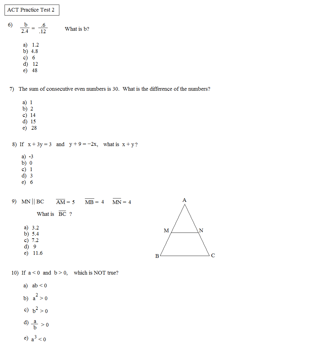 Act math practice problems worksheet pdf