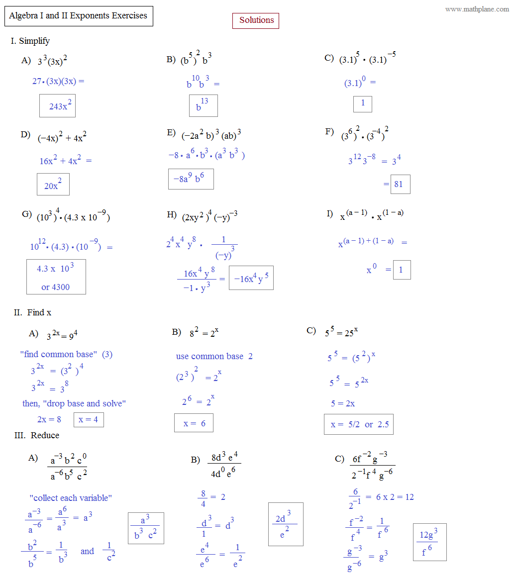 Printables Algebra 2 Functions Worksheet math plane algebra ii preview exponents exercise solutions