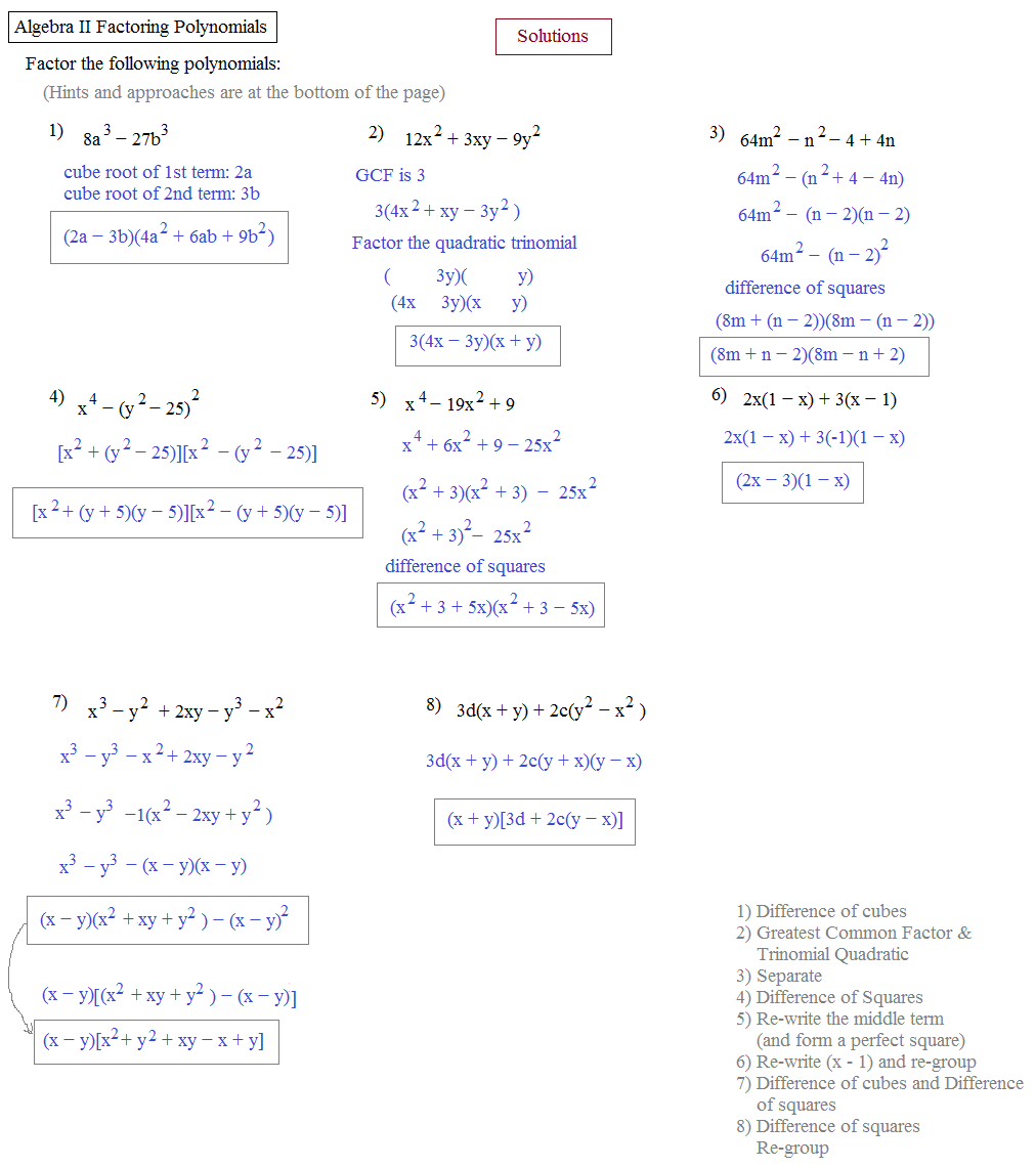 Printables Factoring Polynomials Worksheet With Answers Algebra 2 math plane algebra ii review 1 factoring polynomials solutions 2