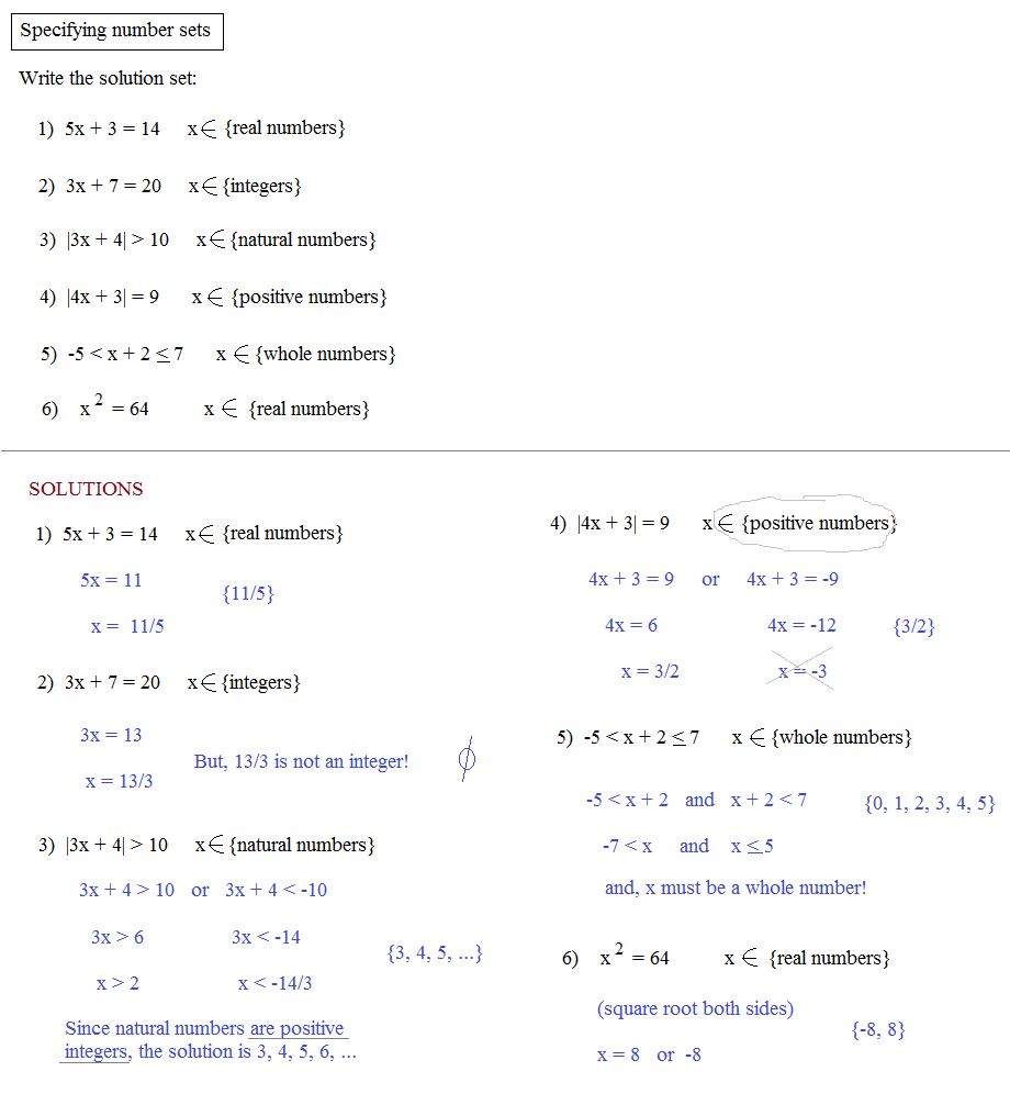 worksheet Number Sets math plane numbers classification algebra solutions within number sets