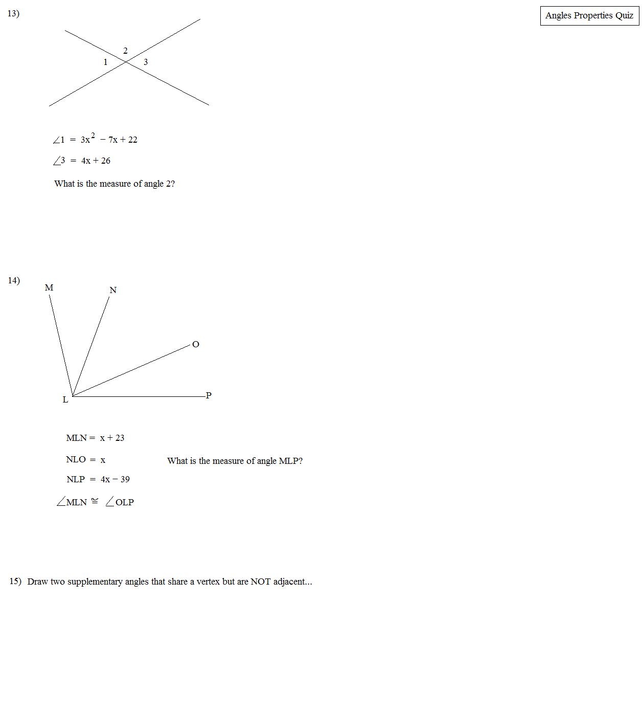 worksheet Adjacent And Vertical Angles Worksheet math plane angles properties angle quiz 3