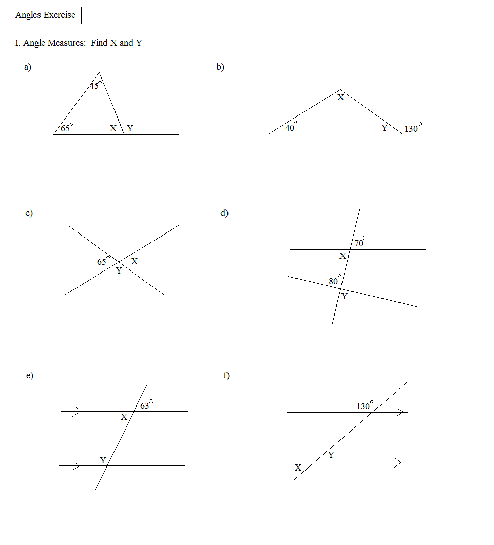 worksheet Vertical Angles Worksheet math plane angles and triangles exercise exercise