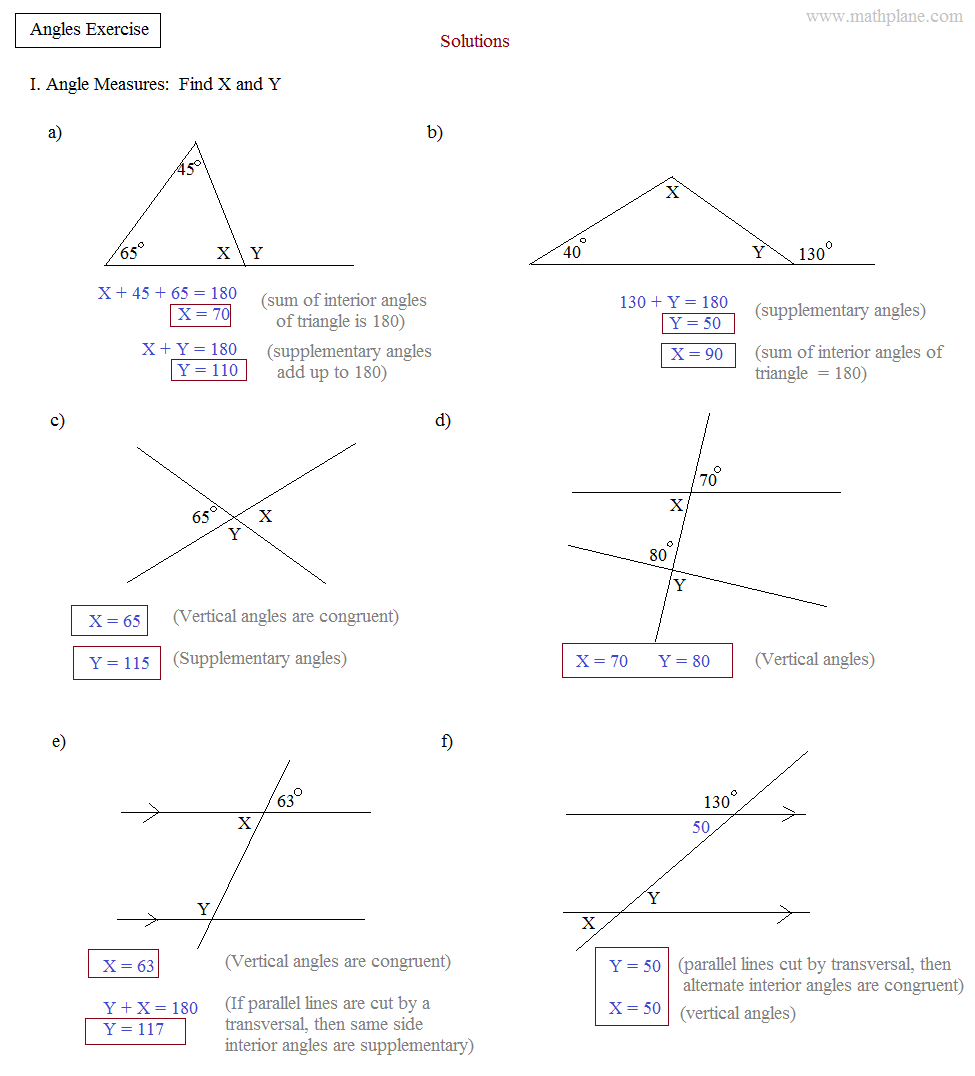 Math Plane - Angles and Triangles Exercise