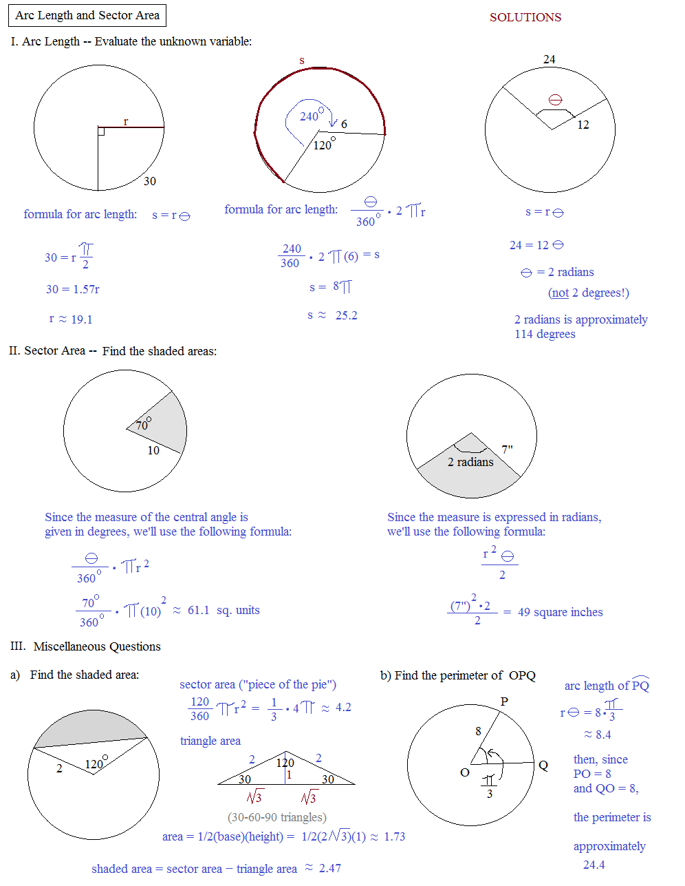 Math Plane Arc Length Sector Area – Area of Sector Worksheet
