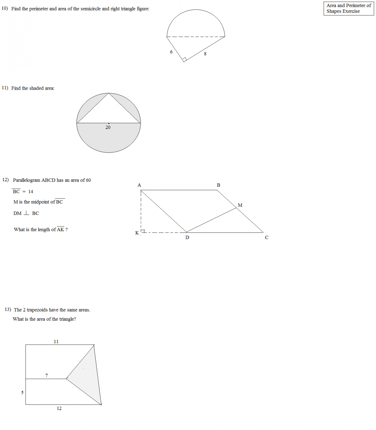 Area of complex figures worksheet pdf