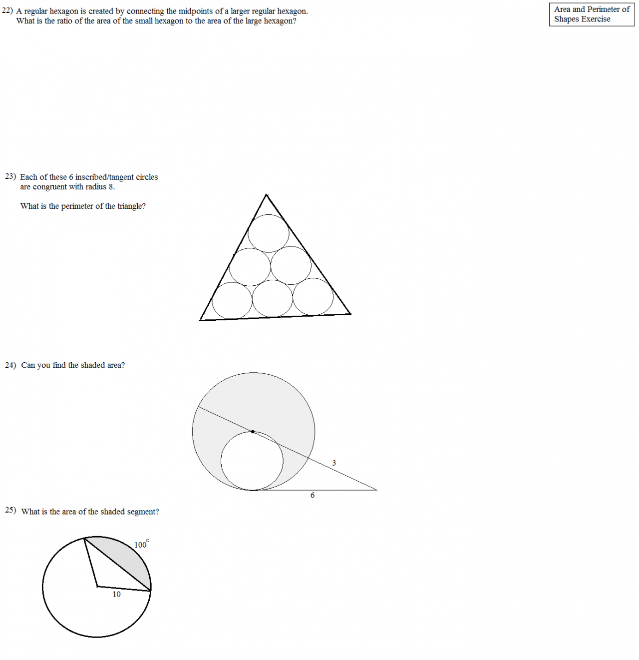 Finding area and perimeter of triangles worksheets