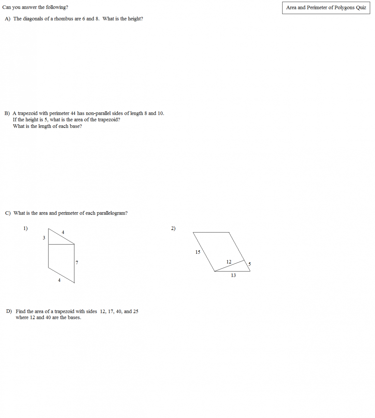Area And Perimeter Polygons Quiz 3