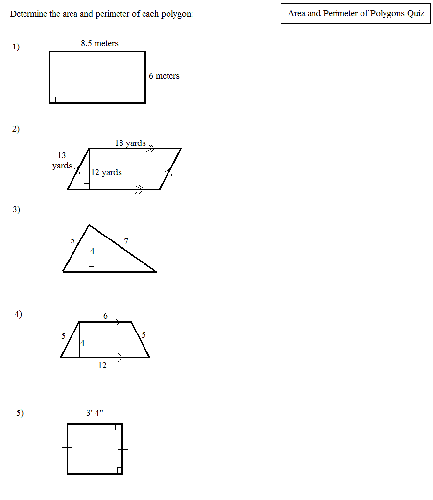 worksheet Areas Of Polygons Worksheet math plane area and perimeter of polygons 1 quiz 1