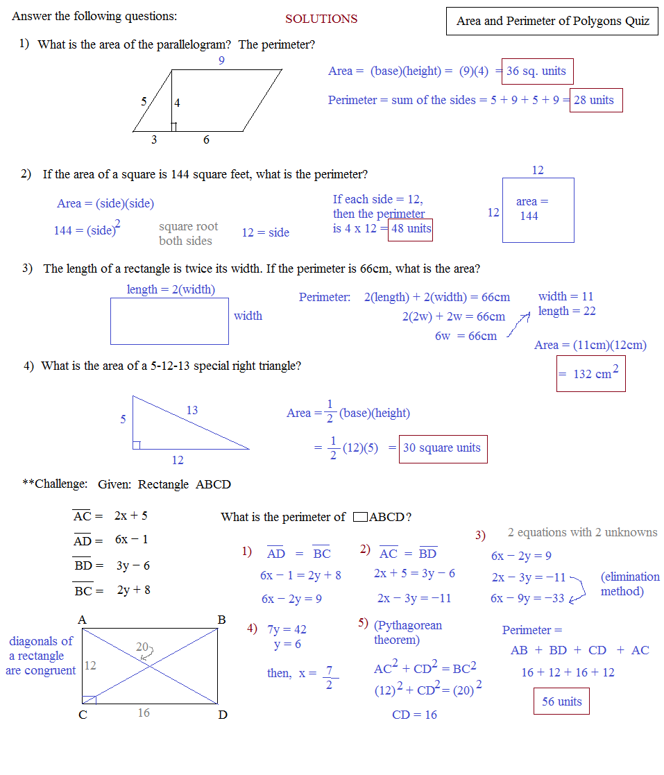 Area Of Polygons Quiz Area And Perimeter Of Polygons Quiz 2 Solutions Area  Of Polygons Quiz