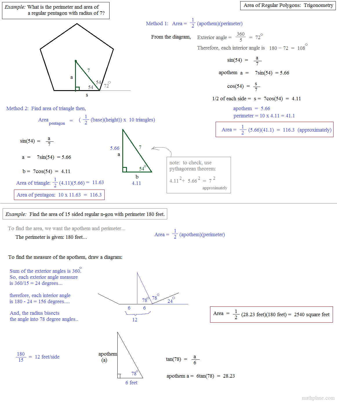 worksheet Areas Of Polygons Worksheet math plane area and perimeter of polygons 2 regular trigonometry
