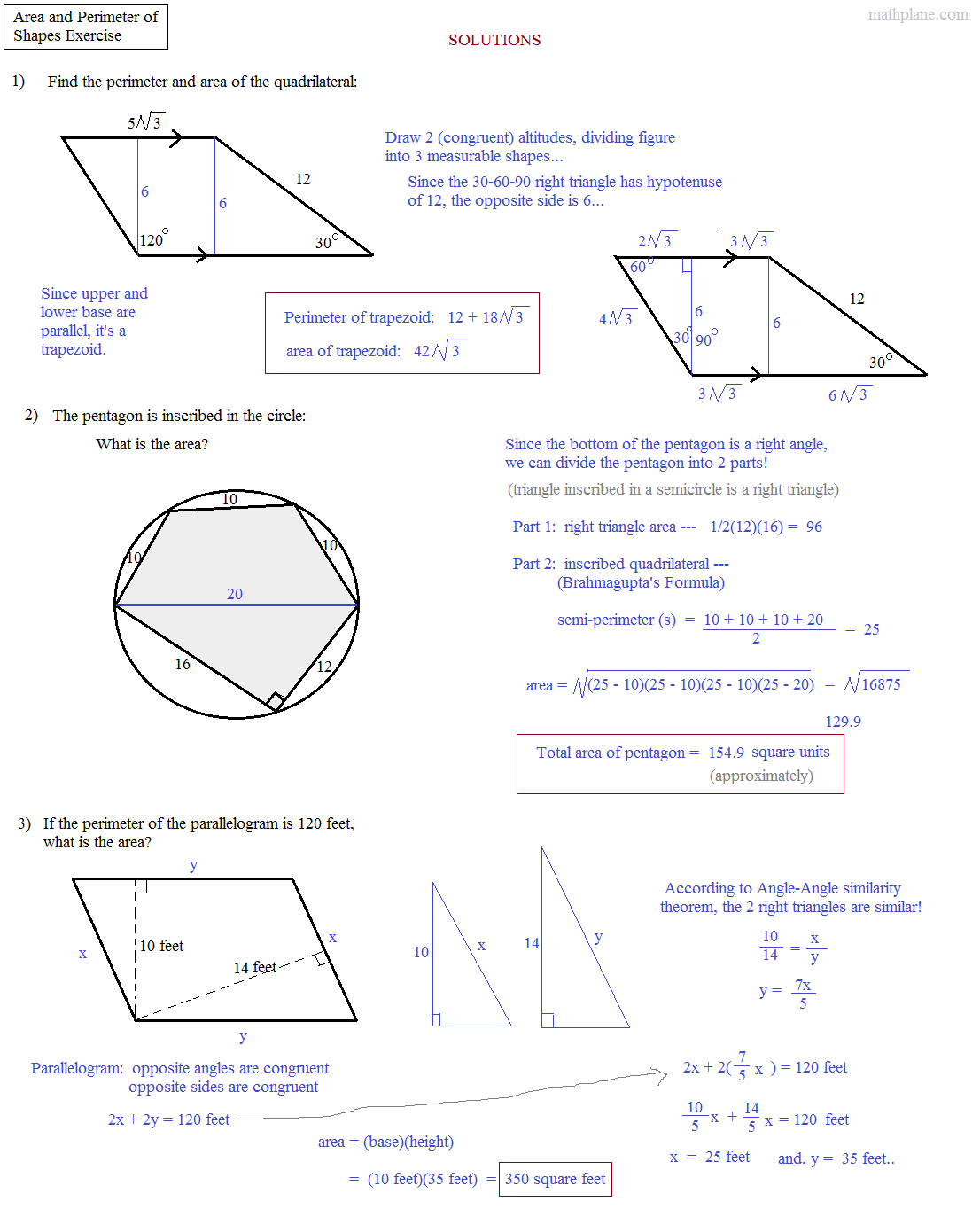 Math Plane - Area and Perimeter of Complex Shapes