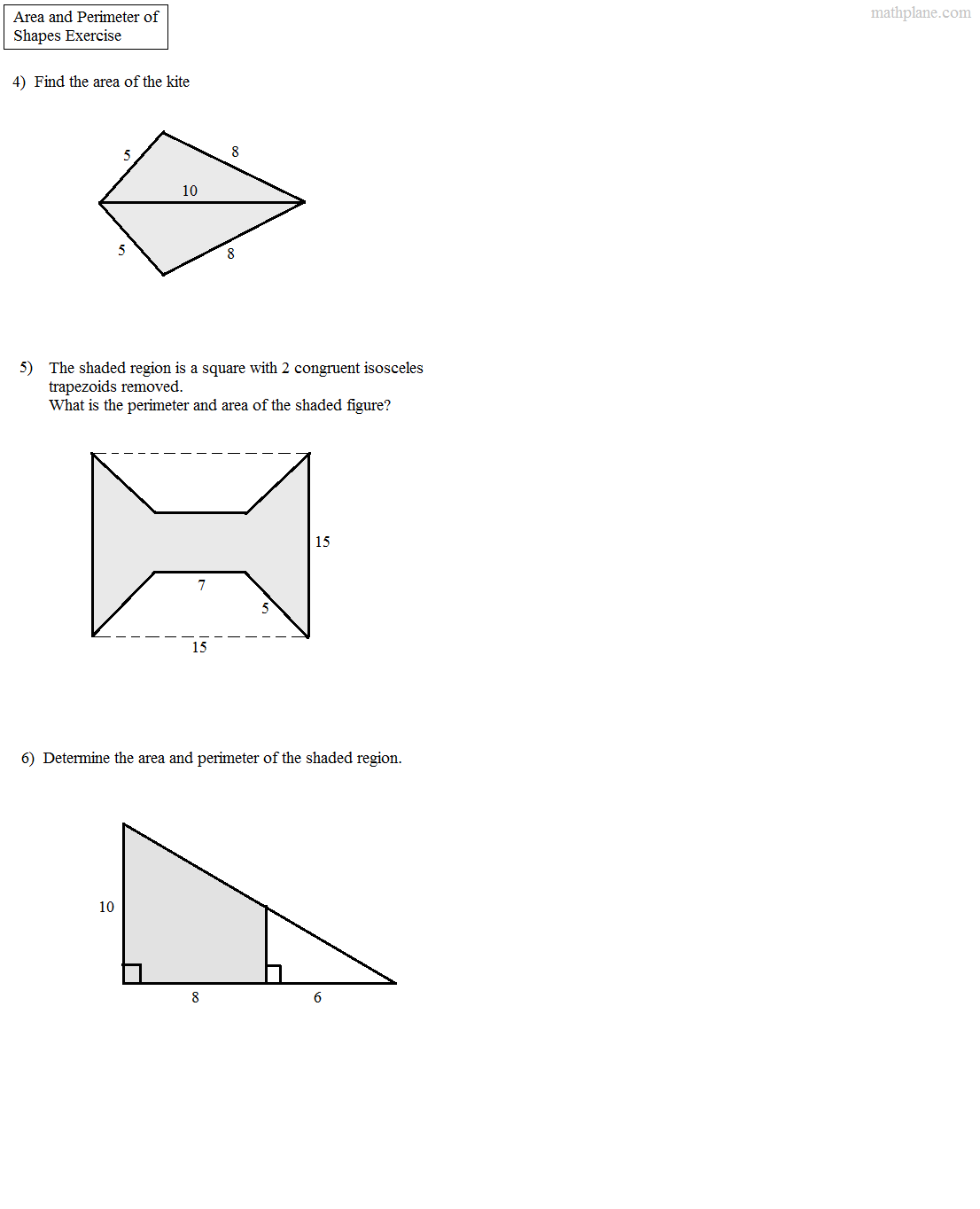 worksheet Area Of Complex Figures Worksheet math plane area and perimeter of complex shapes quiz 2