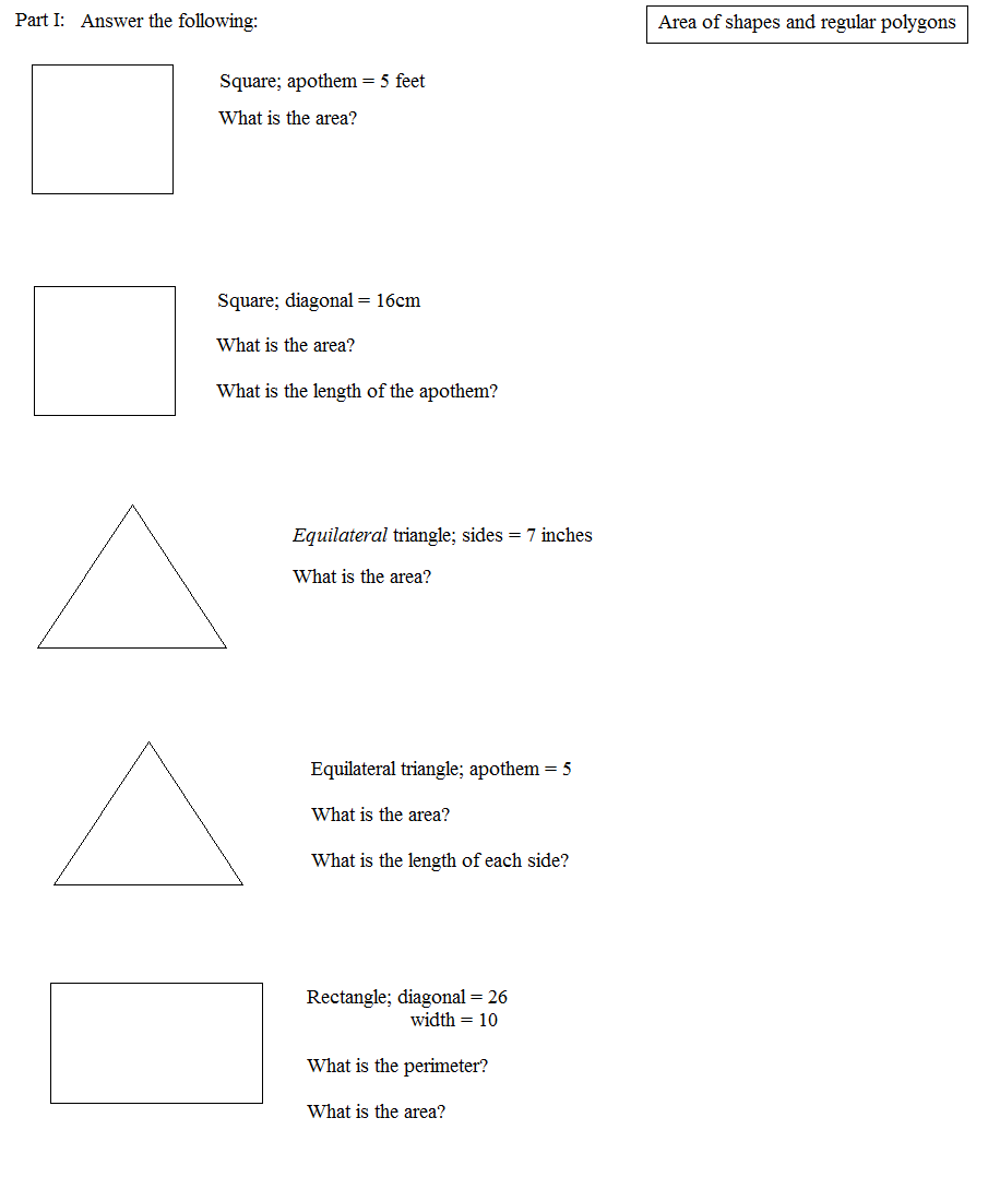 Uncategorized Area Of Shapes Worksheet worksheet area of regular polygons queensammy math plane and perimeter 2 shapes regular