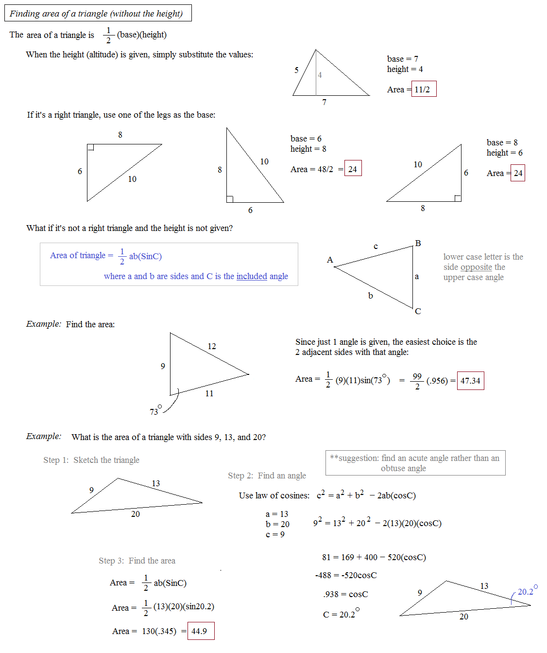 Math plane law of sines and cosines area of triangles area of triangle without height ccuart Image collections