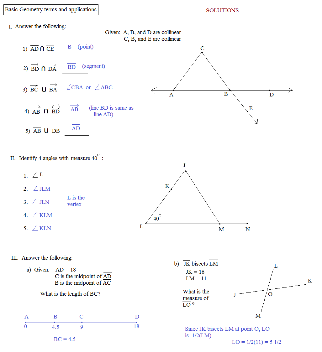 Geometry Terms Worksheet Free Worksheets Library – Basic Geometry Worksheets