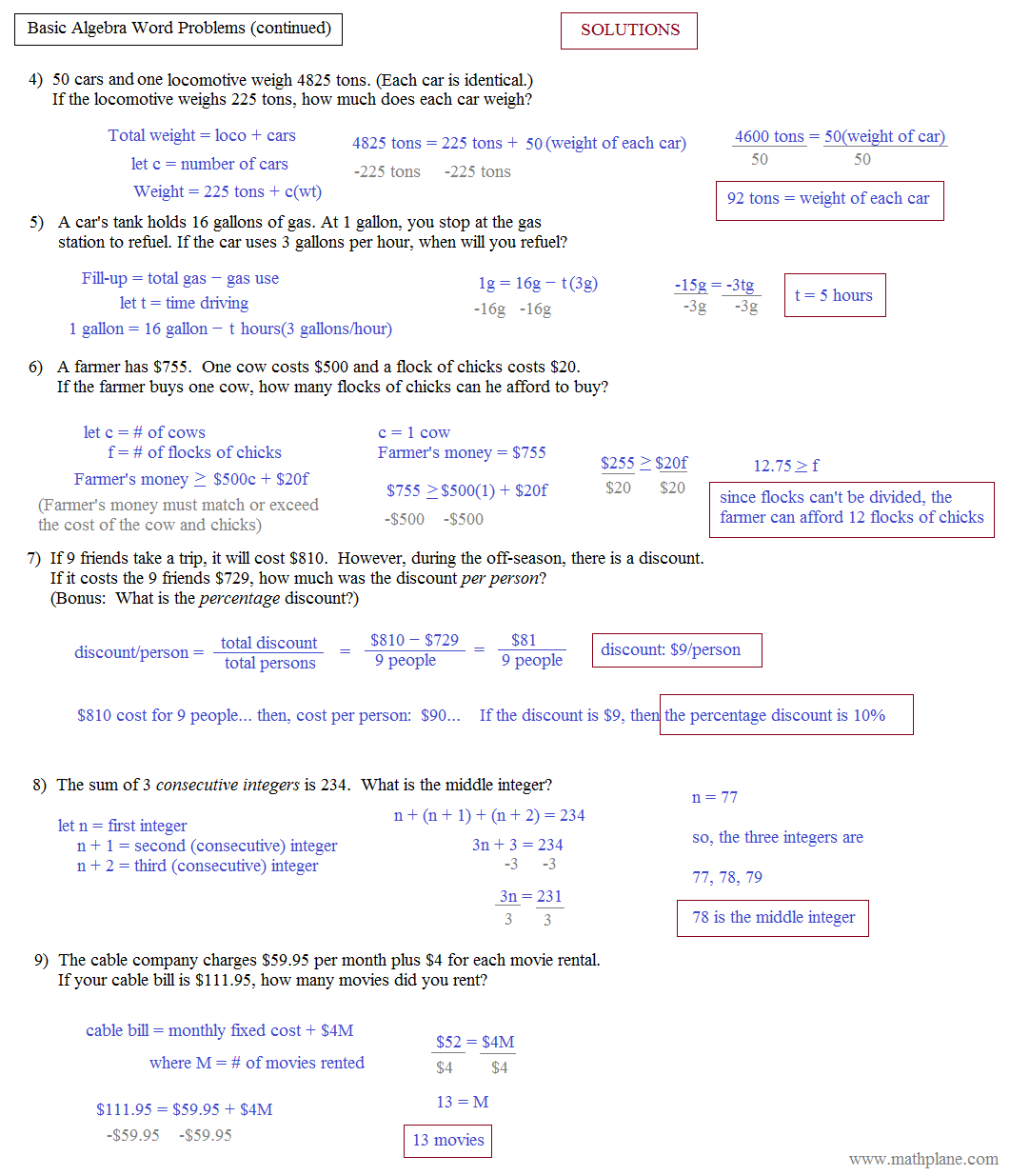 worksheet Linear Equations Word Problems Worksheet math plane algebra word problems basic 2 solutions
