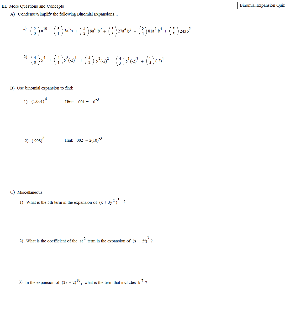worksheet Binomial Expansion Worksheet math plane binomial expansion theorem quiz 2