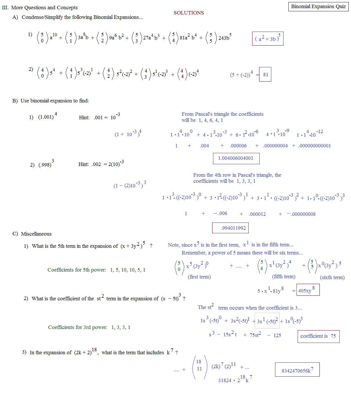 Worksheets Binomial Theorem Worksheet math plane binomial expansion theorem quiz 2 solutions