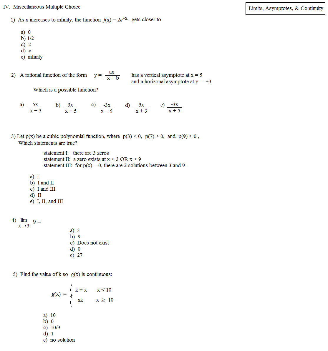 Math Plane Limits and Asymptotes – Limits and Continuity Worksheet