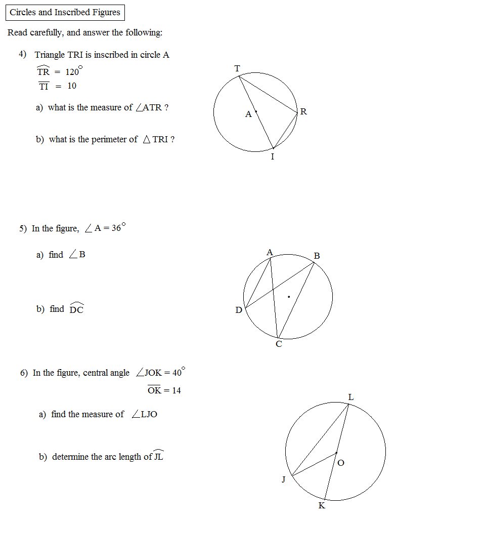 Math Plane Circles and Inscribed Figures – Central and Inscribed Angles Worksheet