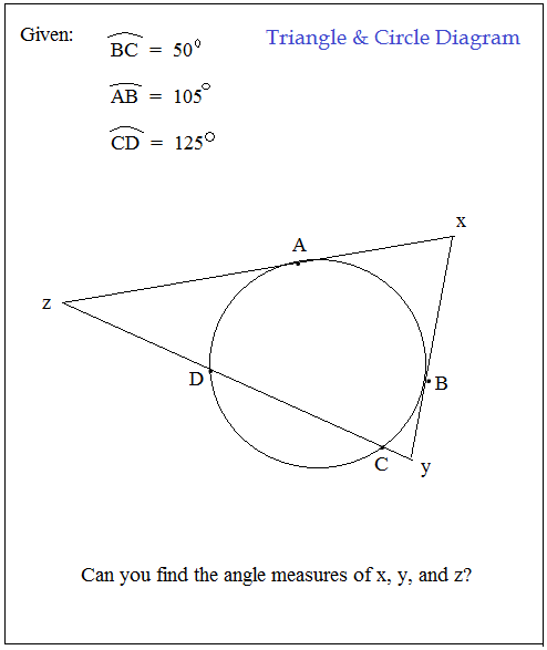 circles review question with triangle