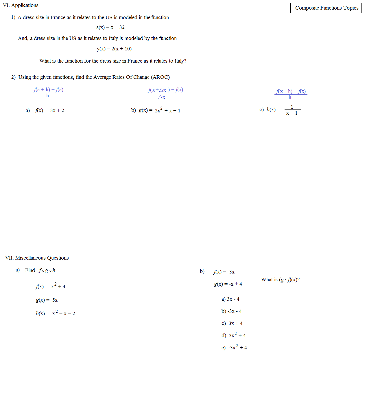 worksheet Composite Functions Worksheet With Answers math plane composite functions topics function 4