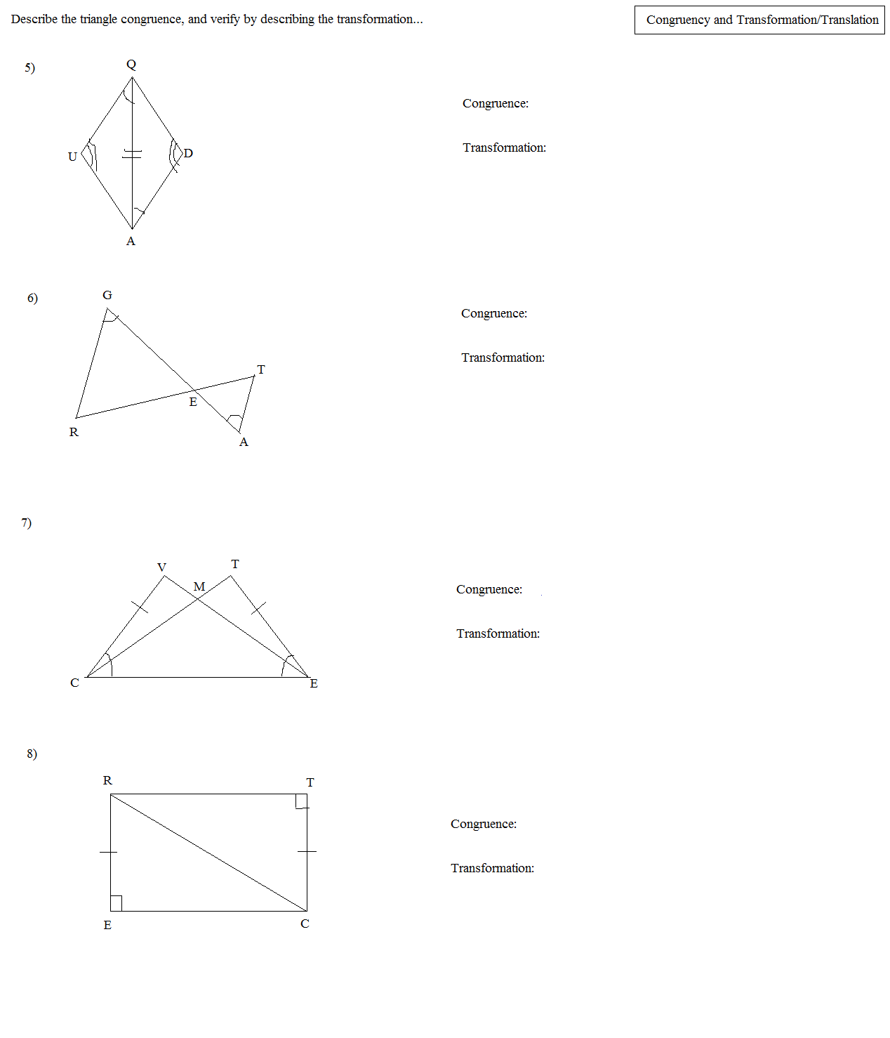 worksheet Congruent Triangles Worksheet With Answer math plane congruent triangles topics and transformations 2 answers
