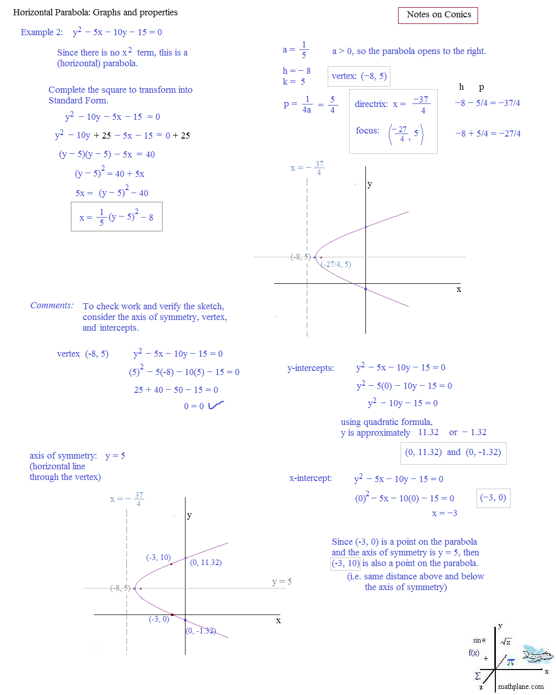 worksheet Parabola Worksheets math plane conics ii hyperbolas and parabolas parabola 2