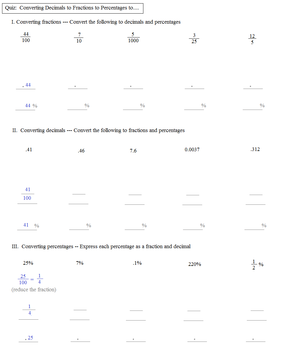 Math Plane Converting Fractions to Decimals to Percentages – Converting Fractions to Percents Worksheets