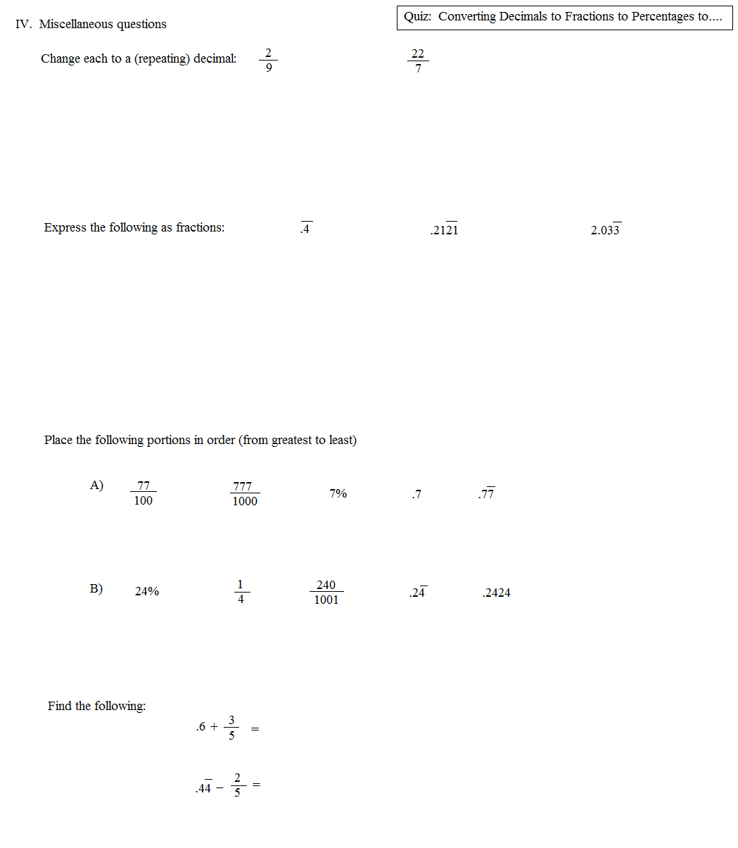Math Plane Converting Fractions to Decimals to Percentages – Converting Decimals to Fractions Worksheets Pdf