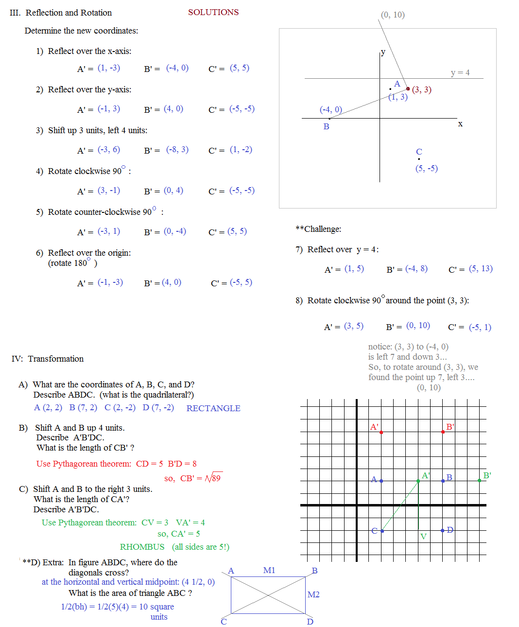 Math Plane Coordinate Geometry 2 – Maths Reflection Worksheets