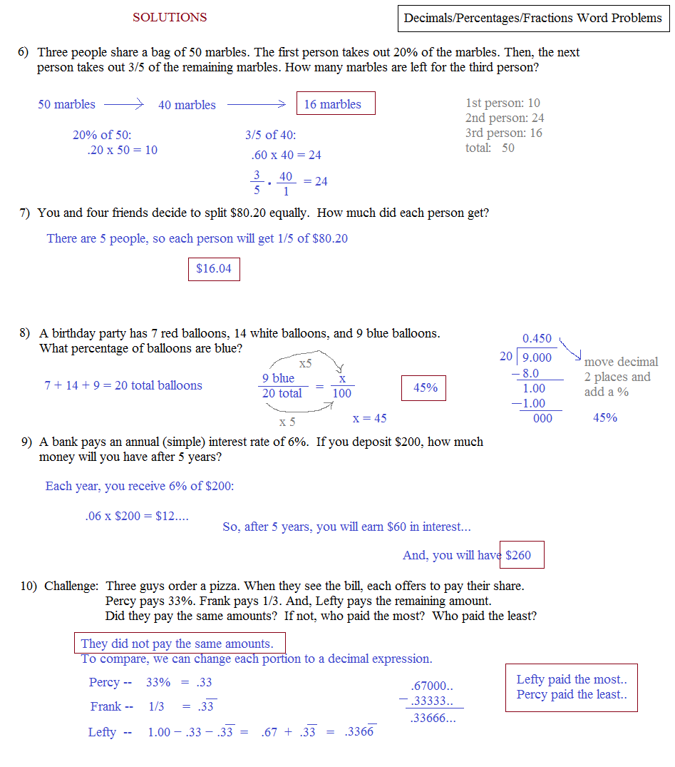 Math Plane Word Problems – Fractions Word Problems Worksheets