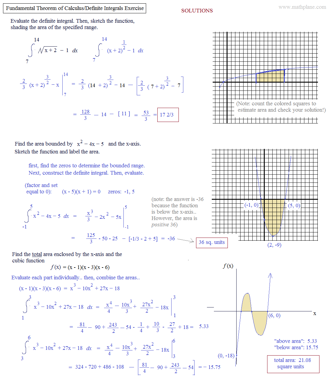 definite integrals Using definite integrals we can now evaluate many of the integrals that we have been able to set up find area between y = sin(x) and the x–axis from x = 0 to x = π, and from.