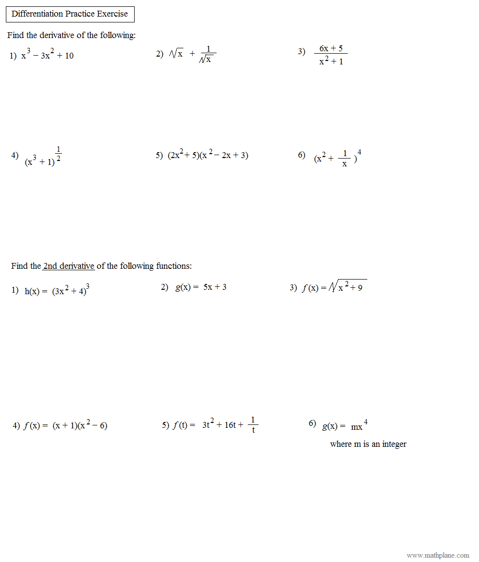 Math Plane Common Derivative Rules Product Quotient Chain – Derivatives Worksheet