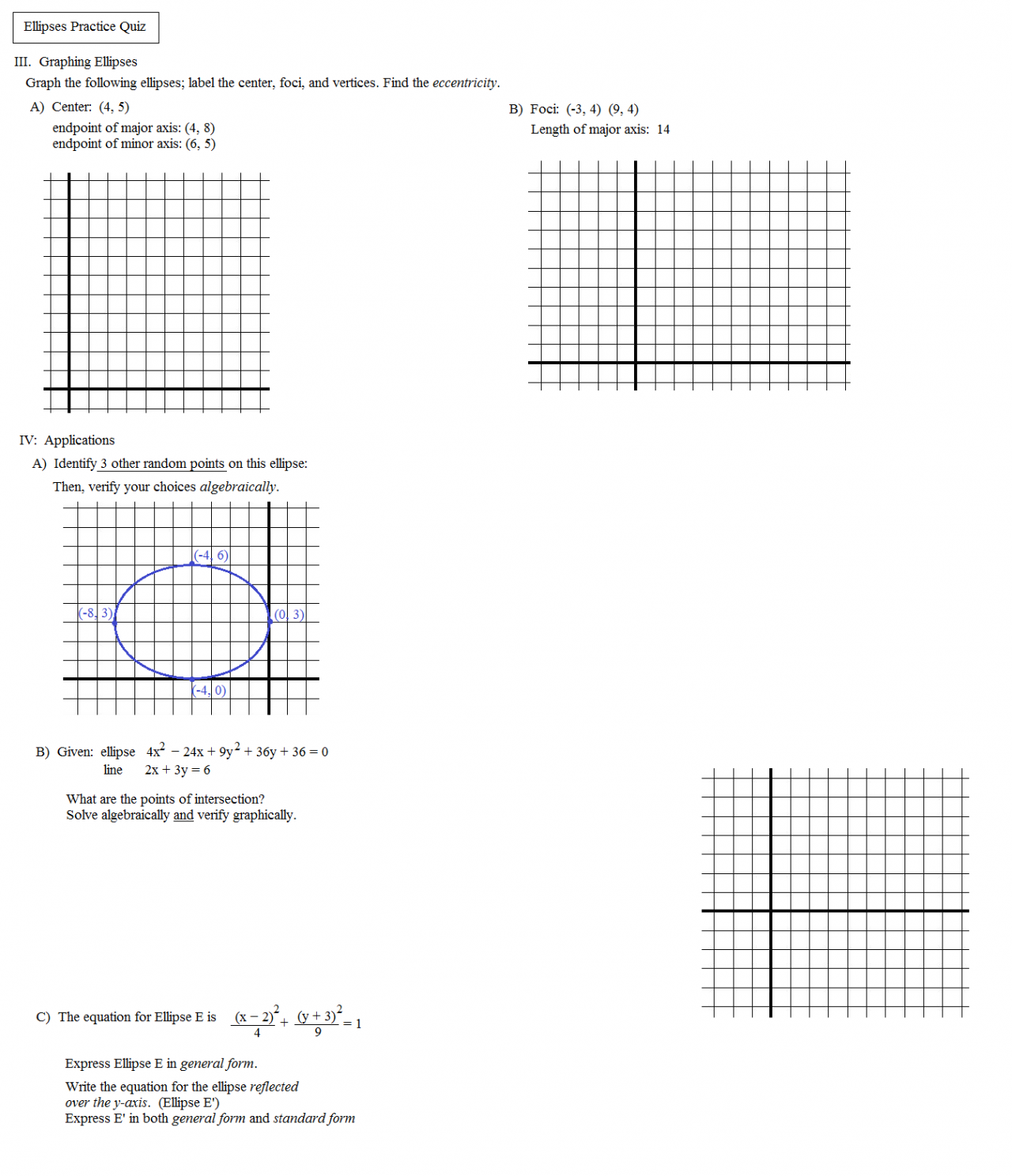 worksheet Ellipses Worksheet math plane conics i circles ellipses ellipse practice quiz 2