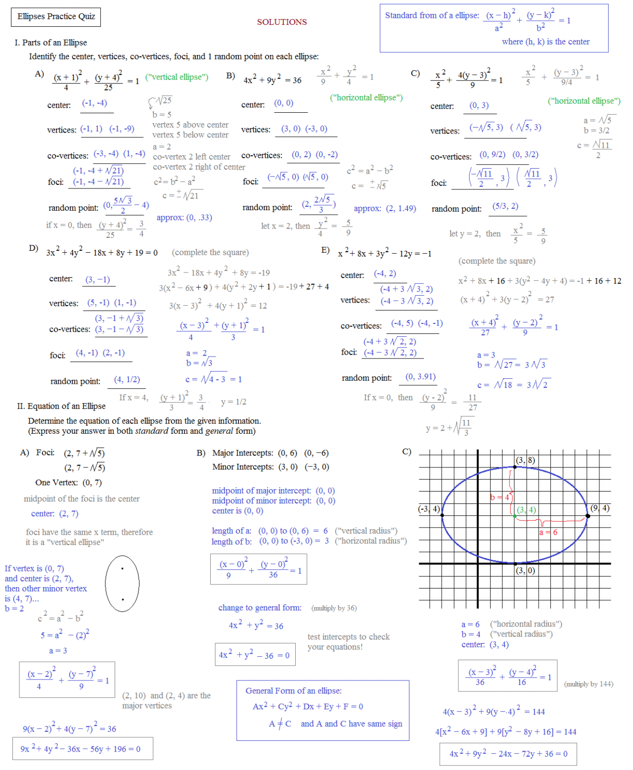 worksheet Ellipses Worksheet math plane conics i circles ellipses ellipse practice quiz solutions